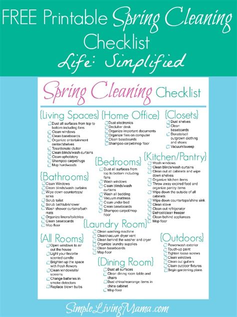 spring cleaning checklist spring cleaning checklist life simplified simple