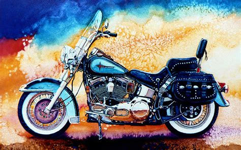 free scooter painting harley hog i painting by hanne lore koehler