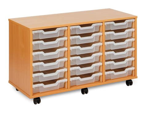 monarch mobile school shallow tray storage unit 18 clear