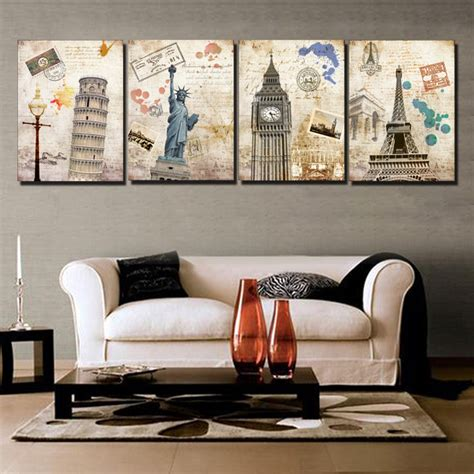 free shipping sell modern wall 4 free shipping sell modern wall painting building city home decorative picture