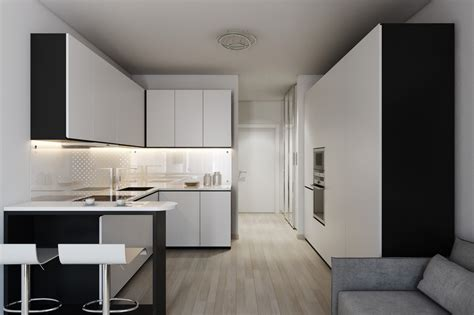 Minimalist Kitchen Design For Apartments 2 Small Apartment With Modern Minimalist Interior Design Roohome Designs Plans
