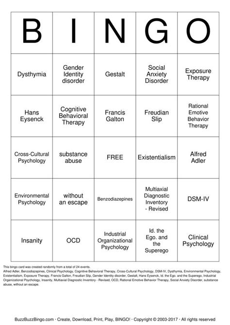 Cognitive Behavioral Therapy Bingo Cards to Download