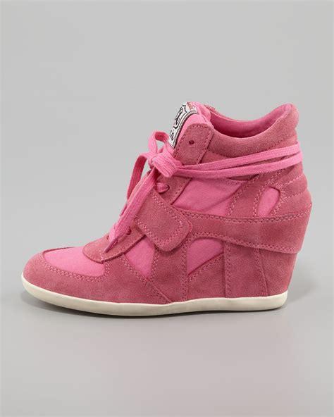 pink wedge sneakers ash bowie suede canvas wedge sneaker in pink lyst