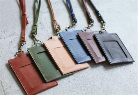 handmade leather id card holder badge holder the earthy handmade pinkoi