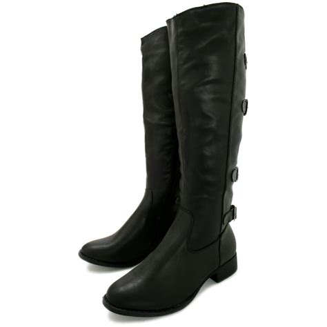 leather boots high heels buy block heel knee high boots black