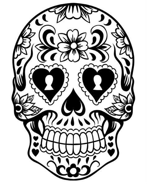 printable skull template free printable day of the dead coloring pages best