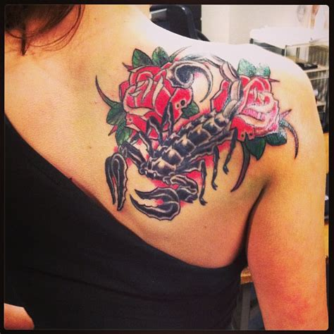 scorpion tattoo with rose scorpion with