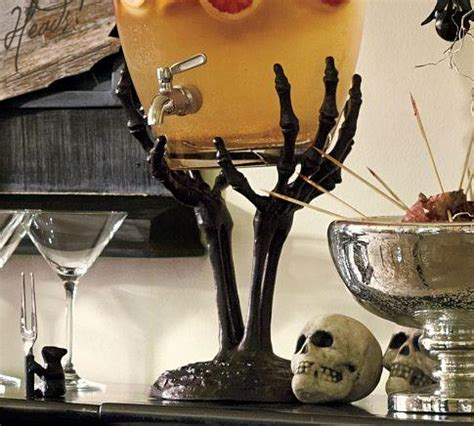halloween drink dispenser skeleton hand drink dispenser stand pottery barn