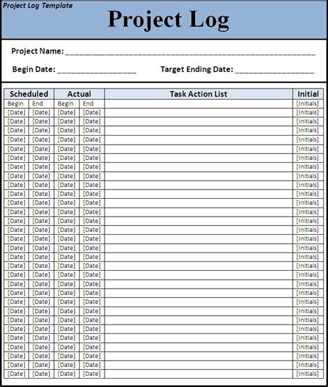 project log template all free templates excel word