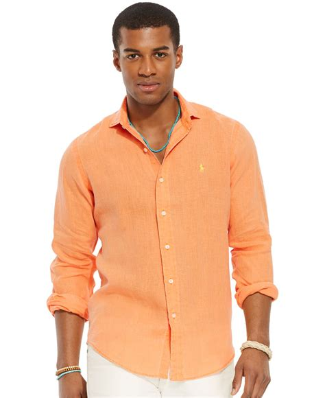Bfs Sweater Hoodie Polos lyst polo ralph linen sport shirt in orange for