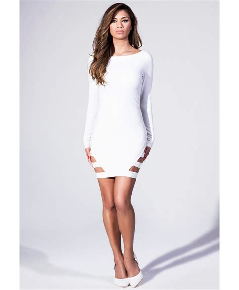 Mini Dress Bodycon lyst missguided bodycon mini dress with slashed hem in white in white