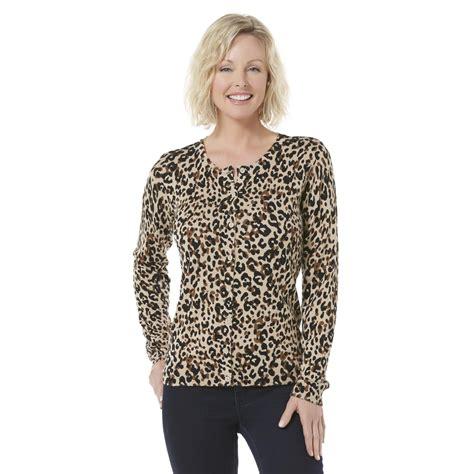 Leopard Print Pullover basic editions s cardigan sweater leopard print