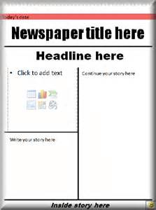 Front Page Newspaper Template by Literacy