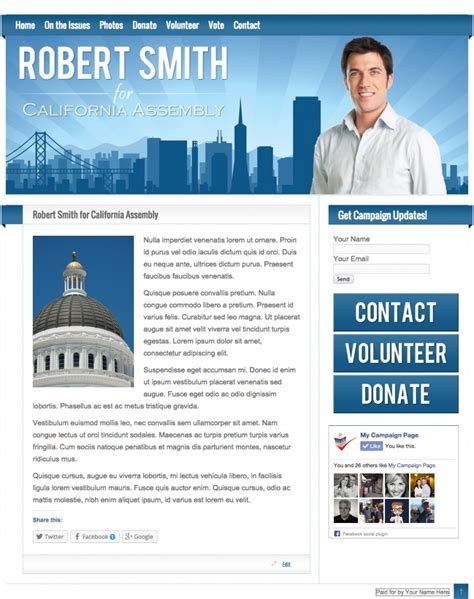 Our Caign Website Templates My Caign Page Election Website Templates Free