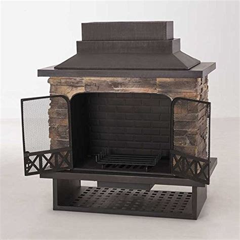 Sunjoy Fireplace by Sunjoy L Of079pst 1 Farmington 48 Quot Steel And Faux Stack
