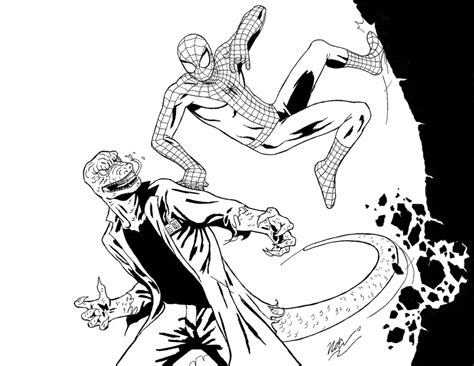 lizard spiderman coloring pages spider man vs the lizard inks by cagscreations on deviantart