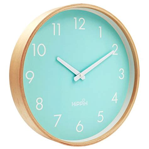 hippih silent wall clock timber 8 inches non ticking digital white large indoor outdoor hippih silent wall clock wood 12