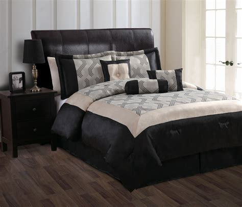 black and beige comforter set 7 piece queen mckenzie beige and black comforter set ebay