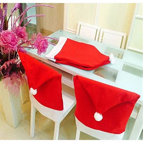 Santa Chair Covers Sets by 6 Pcs 50 60cm Santa Hat Chair Covers Merry