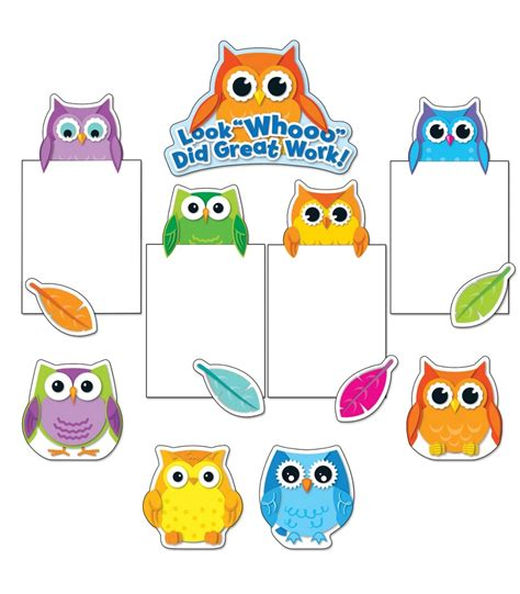 Be Owl Bordir Soft colorful owls work bulletin board set in harmony store