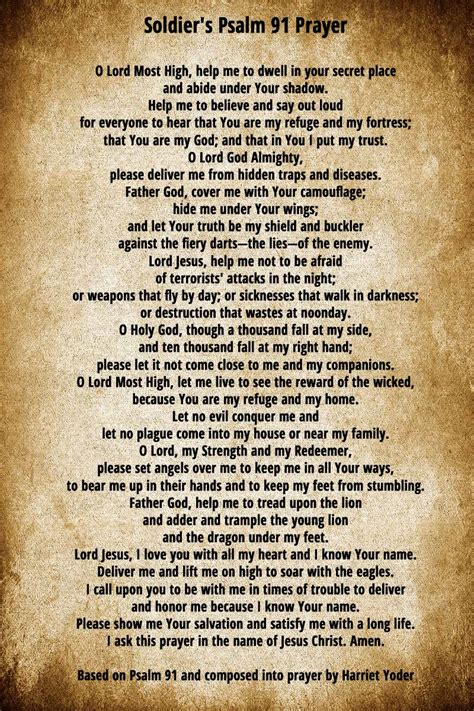 a s prayer soldier s prayer a psalm 91 prayer for soldiers