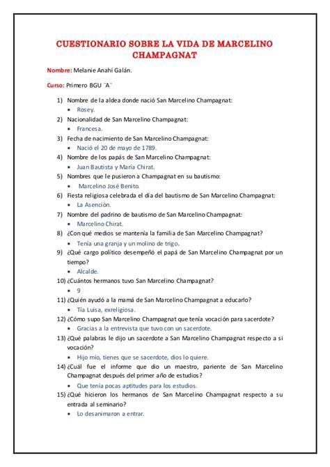 preguntas para la historia de vida cuestionario sobre la vida de marcelino chagnat