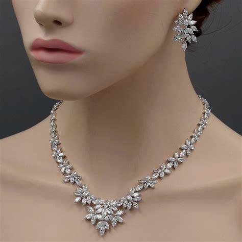 www jewelry 18k white gold gp cubic zirconia cz necklace earrings