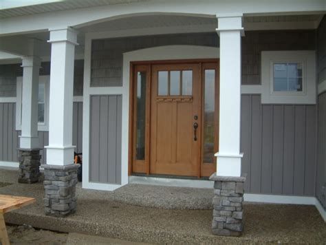 exterior epic front porch decoration using square grey