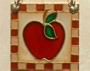 apple wall decor country apple decor stained glass panel or light