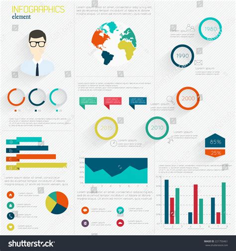 infographics and chart design elements vector set set infographic design templates charts diagrams stock