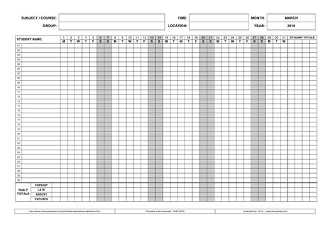 tracking sheet template for teachers free printable attendance sheet sles vatansun