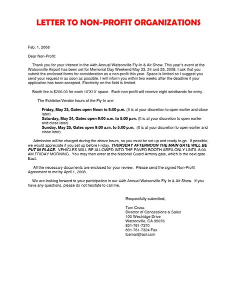 Motivation Letter Non Profit Organisation Cover Letter Non Profit Organization Cover Latter Sle Letter Sle