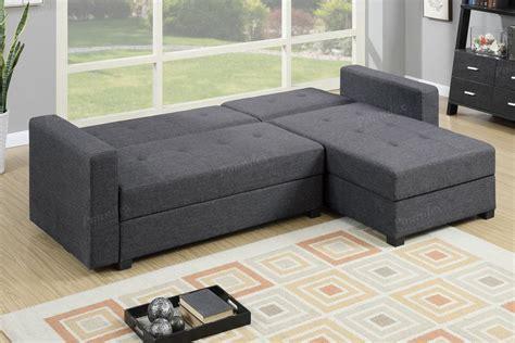 grey sectional sofa bed poundex amala f7896 grey fabric sectional sofa bed