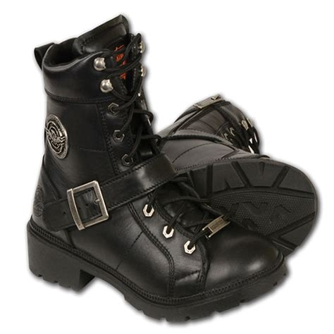 ankle high motorcycle boots milwaukee side zip lace up womens leather ankle high