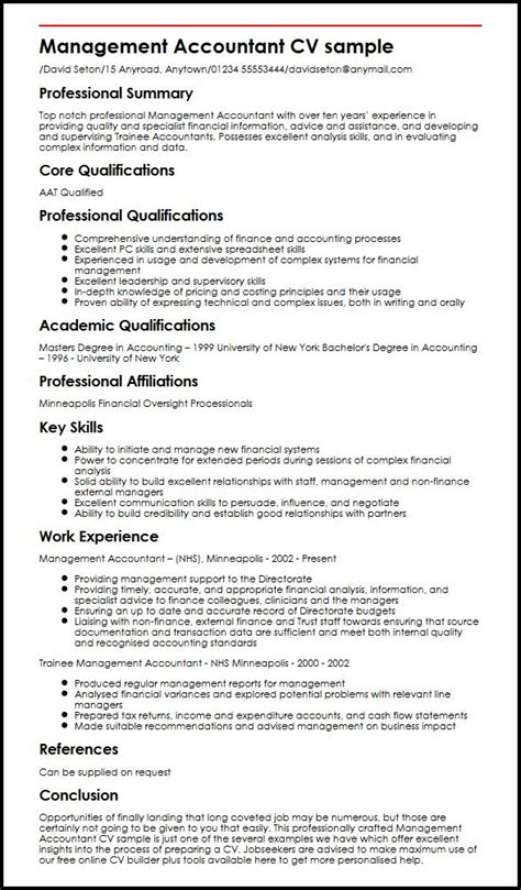 accounting cv template uk management accountant cv sle myperfectcv