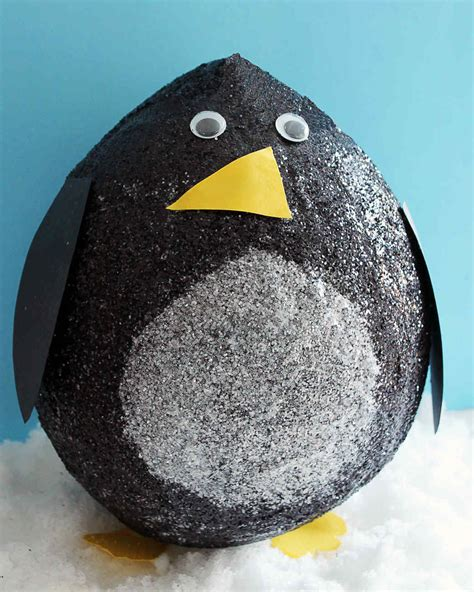 How To Make A Paper Mache Penguin - glittered papier mache penguins martha stewart
