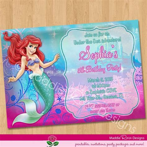 printable birthday invitations little mermaid ariel invitation little mermaid invitation ariel