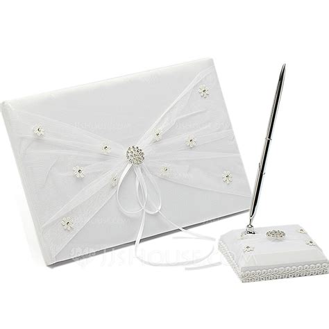 Flowery Chic Set 10 chic ribbons rhinestones bow flower guestbook pen set