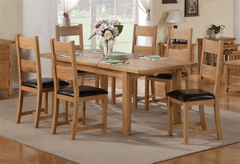 stirling extending dining table with 6 chairs in oak and