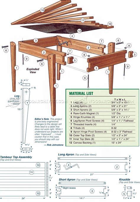 folding table plans woodarchivist