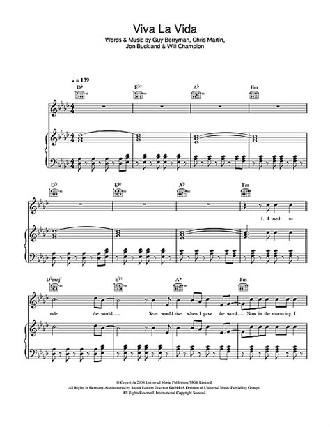 tutorial piano viva la vida coldplay viva la vida sheet music by coldplay piano vocal