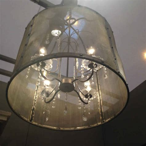 Riveted Metal Mesh Round Chandelier With Glass Droplets By Glass Droplets For Chandeliers