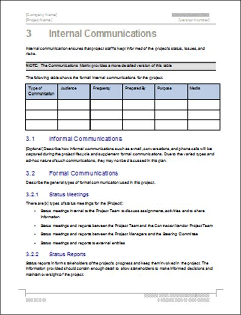 communication plan templates download ms word and excel