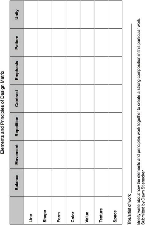 design elements and principles worksheet elements and principles chart i have a sle of this