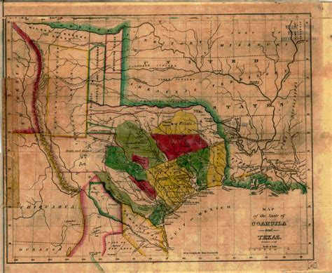 1836 texas map map of the state of coahuila and texas 1836 tslac