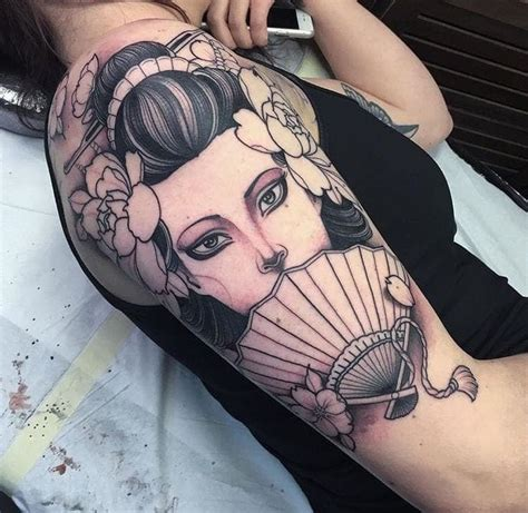 geisha en tattoo japanese geisha sleeve tattoos creativefan