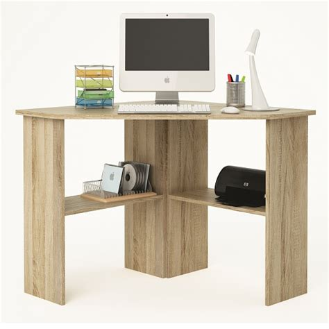 hardwood corner laptop desk newham wooden corner computer desk in brushed oak 28445