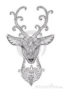stylized image tattoo of a beautiful forest deer head