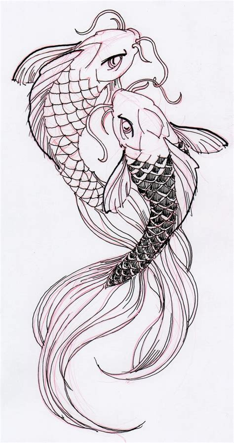 Drawing Koi Fish by Two Cool Koi Fish Ink Drawing Stuff For School