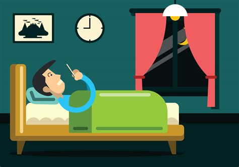 bed vector man on a phone in bed vector download free vector art